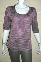 TOSCANE Taille 44 Superbe blouse manches 3/4 femme violet gris tee shirt T-shirt