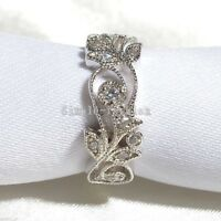 Leaf Jewelry Women Diamonique Cz 925 Sterling Silver Engagement Wedding Ring