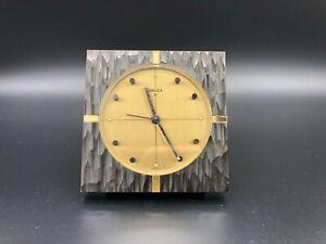 """Vintage Swiza Alarm Desk Square Brass Clock, Manual 8 Days, 3 1/2"""" x 3 1/2"""""""