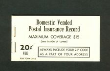Domestic Vended Postal Insurance Record Booklet Pod Form 3815