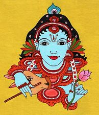 Kerala Mural Krishna Painting Handmade South India Religion Ethnic Miniature Art