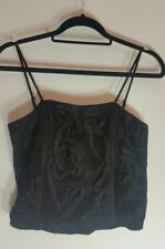M&S Per Una Black Cami Womens Size 10 Corset Top Strappy Lingerie Patterned