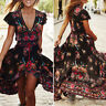Plus Size Women's Boho Casual Summer Beach Party Floral Sundress Long Maxi Dress