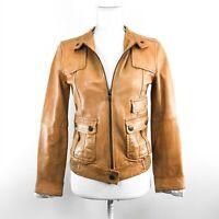 BANANA REPUBLIC Vintage Italian Leather Biker Jacket RARE Snaps Tan Lined XS