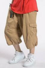 Mens Baggy Cargo Shorts Cotton Blend Summer Casual Overalls Pants Loose Trousers