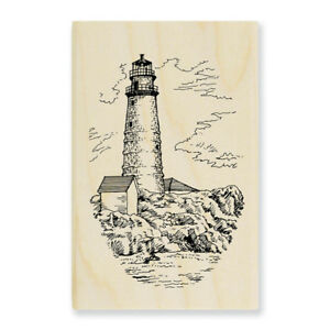 Boston LIGHTHOUSE Ocean Scene Wood Mounted Rubber Stamp Stampendous M073 NEW