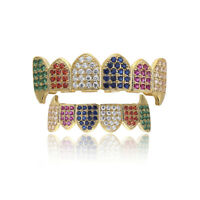 18K Gold Plated High Quality Multi Color CZ Top & Bottom GRILLZ Teeth Grills
