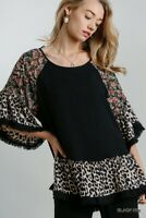 Umgee Black Floral Animal Print Frayed Hem Bell Sleeve Tunic Top