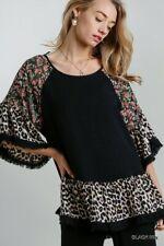 Umgee Black Floral And Animal Print Frayed Hem Bell Sleeve Tunic Top