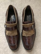 Salvatore Ferragamo Slip On Tassle Leather Brown Shoes Uk6.5 Eu40.5
