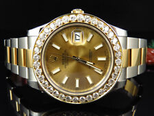 Mens New 41 MM 116333 Rolex Date Just II 2 With Two Tone Genuine Diamond Bezel