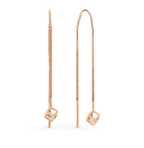 Earrings Rose Gold 14K Russian fine jewelry no stone 585 1.47g NEW with tag long