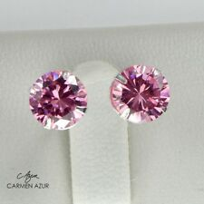 Solid 925 Sterling Silver Big Pink Cubic Zirconia Stud Earrings New inc Gift Bag