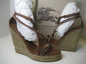 $450 NEW Burberry US 8.5 EU 39 Tan Check Hearts Espadrille Wedges Sandals Shoes