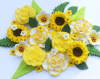 Edible yellow flowers. Edible yellow roses, sunflowers & carnations cake toppers