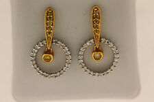 14k TWO TONE GOLD DROP DANGAL YELLOW DIAMOND POST EARRING