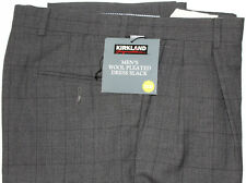 "MEN SLACKS ""KIRKLAND"" WOOL PLEATED Size 32X32 NEW CHARCOAL"