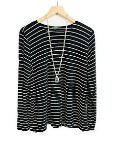 Lauren Ralph Lauren Womens Plus Top 3X Black & White Stripe Blouse