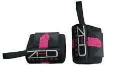 "WRIST WRAPS FOR POWERLIFTING HEAVY LIFTS GYM SUPPORT BRACES 18"" Black-pink strip"