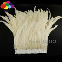 2 meters Milk white Cock tail feathers Trim Fringe 25-35cm/10-14inch Width Decor
