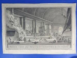 Nicolas OZANNE Gravure ancienne PRINCIPALES MANOEUVRES DE LA MARINE XVIIIe