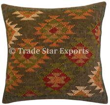 Indian Hand Woven Kilim Rug Cushion Cover 18x18 Vintage Jute Throw Pillow Case