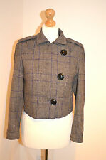Diseñador de calidad MALENE BIRGER Tweed Cuadros Mezcla De Lana/Chaqueta/Abrigo UK10-12 en muy buena condición