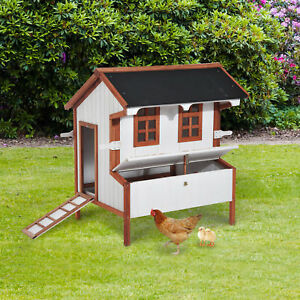 Chicken Coop Hen Cage Poultry Hutch Nesting Box Roof Wooden Large House Door