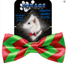 """Christmas Holiday Dog Collar Bow Tie Red Green Bowtie Costume 9-16""""Neck One Size"""