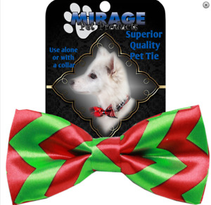 """Dog Collar Christmas Bow Tie Holiday Red Green Bowtie Costume 9-16""""Neck One Size"""