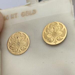 14K Yellow Gold Unique Design 11mm Flat Disc Stud Earrings