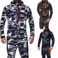 Fashion Mens Hooded Hoodies Camouflage Zipper Sweatshirt Tracksuit Tops