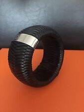Christian Dior Black Leather Braided Bangle Bracelet