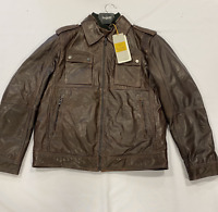 Bugatti 2 Zip Leather Jacket Red/Brown Mens Size UK 46 *REF155