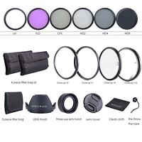 72MM Lens Filter Kit - Macro Close Up Set & UV CPL FLD w/ Pouch for Nikon Canon