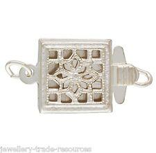 Plata Esterlina Pearl / Collar de abalorios de empuje en joyas broche Plaza capturas