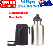 2L Stainless Steel Cycling Sports Outdoor Water Drink Bottle With Bottle Pouch