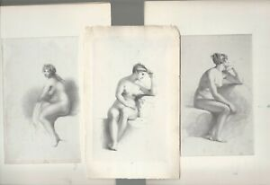 Lot of Three matted lithographs of Nudes Circa 1860