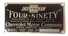 Chevrolet Chevy Car Model 490 Four-Ninety Patent Plate 1916-1922