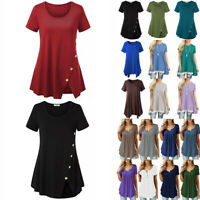 Women Cotton Swing Short Sleeve Tunic Tops Blouses Loose Plus Size T-Shirt Dress