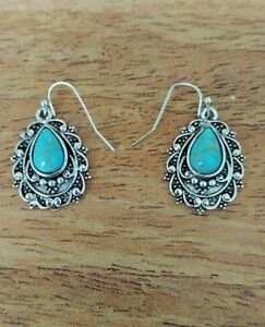 SILVER NATURAL TURQUOISE GEMSTONE HOOK DANGLE