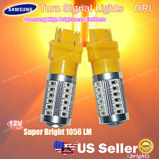 2pcs 3157 3156 Samsung LED Projector Lens DRL Turn Signal Light Amber Yellow #ba