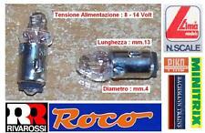 SET N.2 MICRO LAMPADA LUCE BIANCA 12V 35mA mm.13x4 per LOCOMOTORI SCALA N ed HO