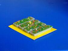 Vasi cemento fioriti rettangolari per plastico o diorama H0 pezzi 4 - KREA