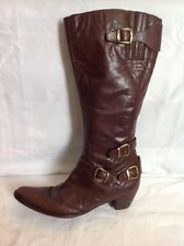 Buffalo Londres Bordeaux Knee High Leather Boots Size 41