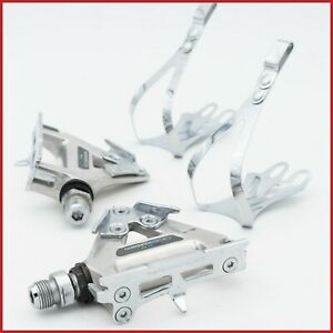 NOS SHIMANO 600 PD-6400 TRICOLOR PEDALS QUILL VINTAGE ROAD BIKE 80s TOE CLIPS