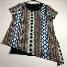 I.N. Studio Womens Short Sleeve Blouse Top XL Mix Geometric Abstract Print Scoop