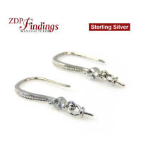 Pearl Holders Cap peg earring bases with CZ, Sterling silver 925