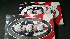 WORLD COIN LOTS US STATE QUARTERS COLLECTIONS SERIES PLATINUM & GOLD EDITION
