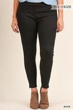 NEW Womens Umgee Brand Stretchy Black Color Moto Jeggings Sz 2XL